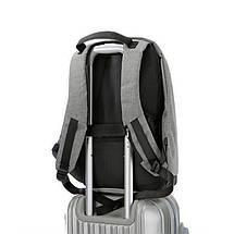 Мужской рюкзак BritBag Bobby антивор серый, фото 3