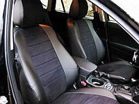 Авточехлы из экокожи Автолидер для  BMW 3 (E-46) с 1998-2006г. Седан черные  с черной алькантарой