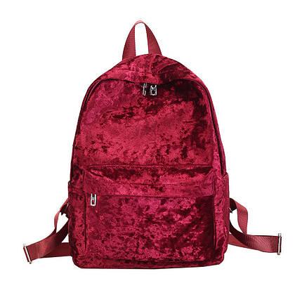 Рюкзак женский велюровый Amelie Velor GD красный, фото 2