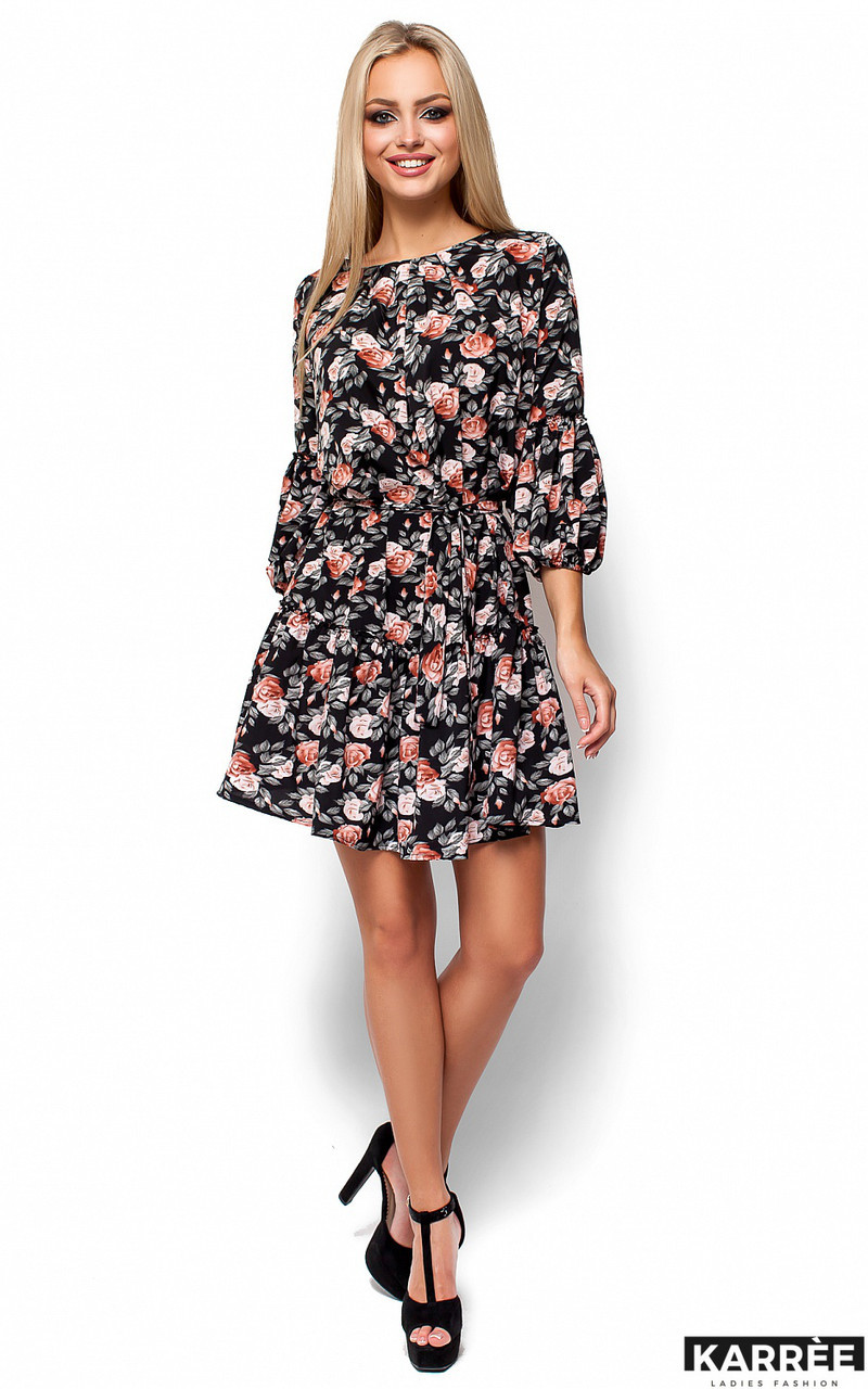 Легкое летнее платье с цветочным принтом Karree Катрин черное