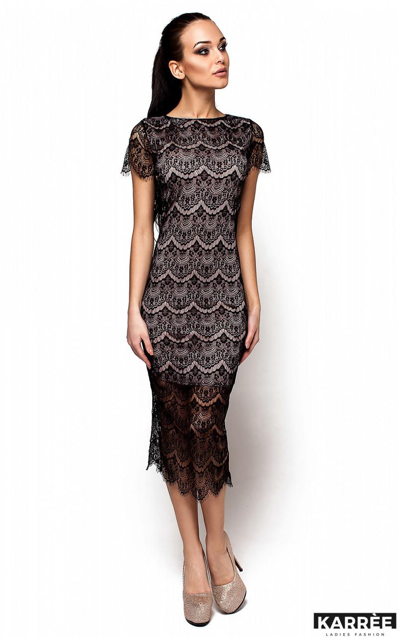 Приталенное платье из гипюра Karree Мелис черное