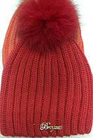 Женские, подростковые шапки шерстяные с помпоном из натурального меха ША-3233, фото 1