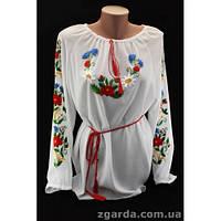 Женская вышиванка из шифонового полотна с красивым цветочным орнаментом