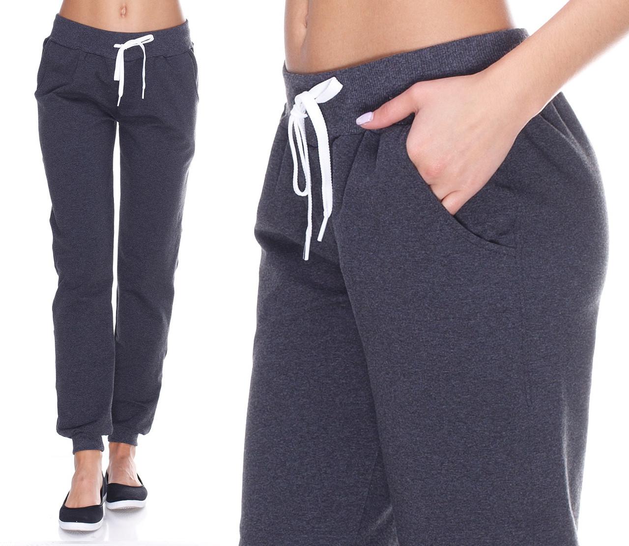 Теплые спортивные штаны женские на флисе зимние с начесом серые