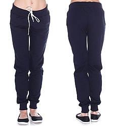 Теплые спортивные штаны женские на флисе зимние с начесом темно синие