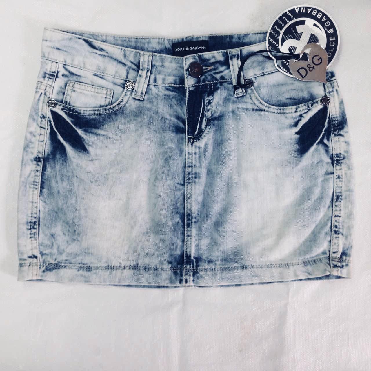 Юбка в стиле Dolce&Gabbana джинсовая мини голубая
