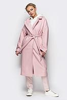 Широкое шерстяное пальто на кнопках