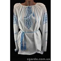 Женская вышиванка из домотканного полотна с рисунком нежного голубого цвета f6bda9517aaea