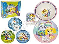 Набор детской фарфоровой посуды 3 предмета (супница, тарелка, кружка) расцветка асорти