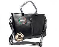 Кожаная классическая сумка Черного цвета большая, вместительная