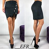 Стильная красивая короткая женская чёрная замшевая юбка с кружевом S-M L-XL
