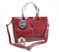Містка велика жіноча сумка з натуральної шкіри Бордова (червона)