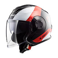 Шлем LS2 OF570 VERSO TECHNIK BLACK WHITE RED L
