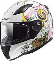 Детский мотошлем LS2 FF353 Rapid Mini Crazy Pop белый/розовый, M