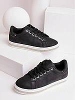 Женские кеды черные на шнуровке 27861, фото 1