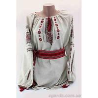 Женская льняная вышиванка с украинским орнаментом