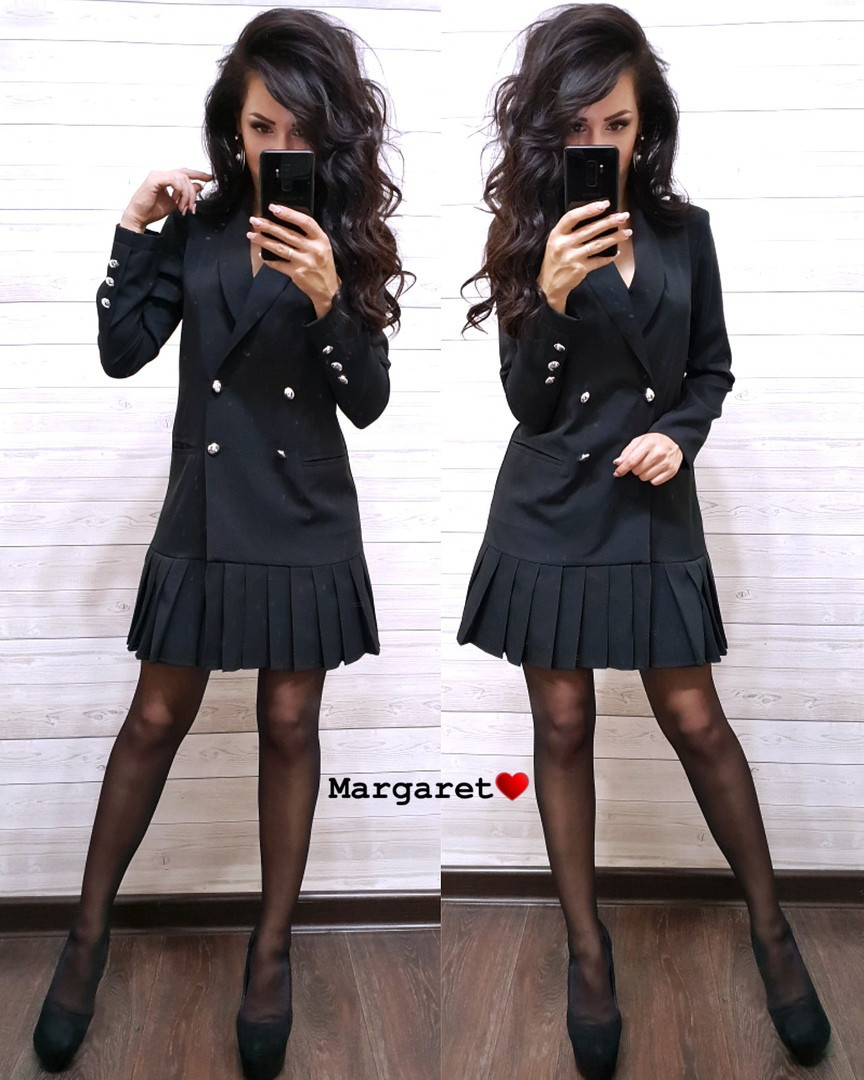 Платье пиджак на пуговицах снизу плиссировка