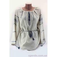 Женская льняная вышиванка с оригинальным узором василькового цвета