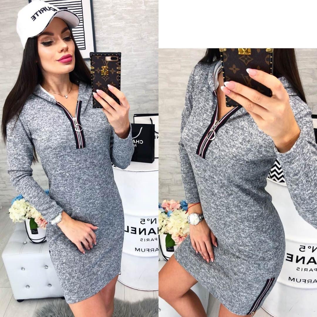 0790e9db4078 Платье женское спортивное с капюшоном ангора - меланж размеры:42, 44,46,