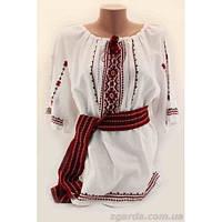 Нежная женская льняная вышиванка с широкой орнаментикой на груди