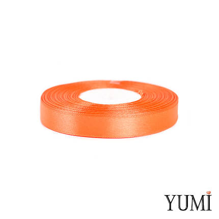 Лента (тесьма) атласная (сатин) 12 мм ОРАНЖЕВАЯ 8027, фото 2