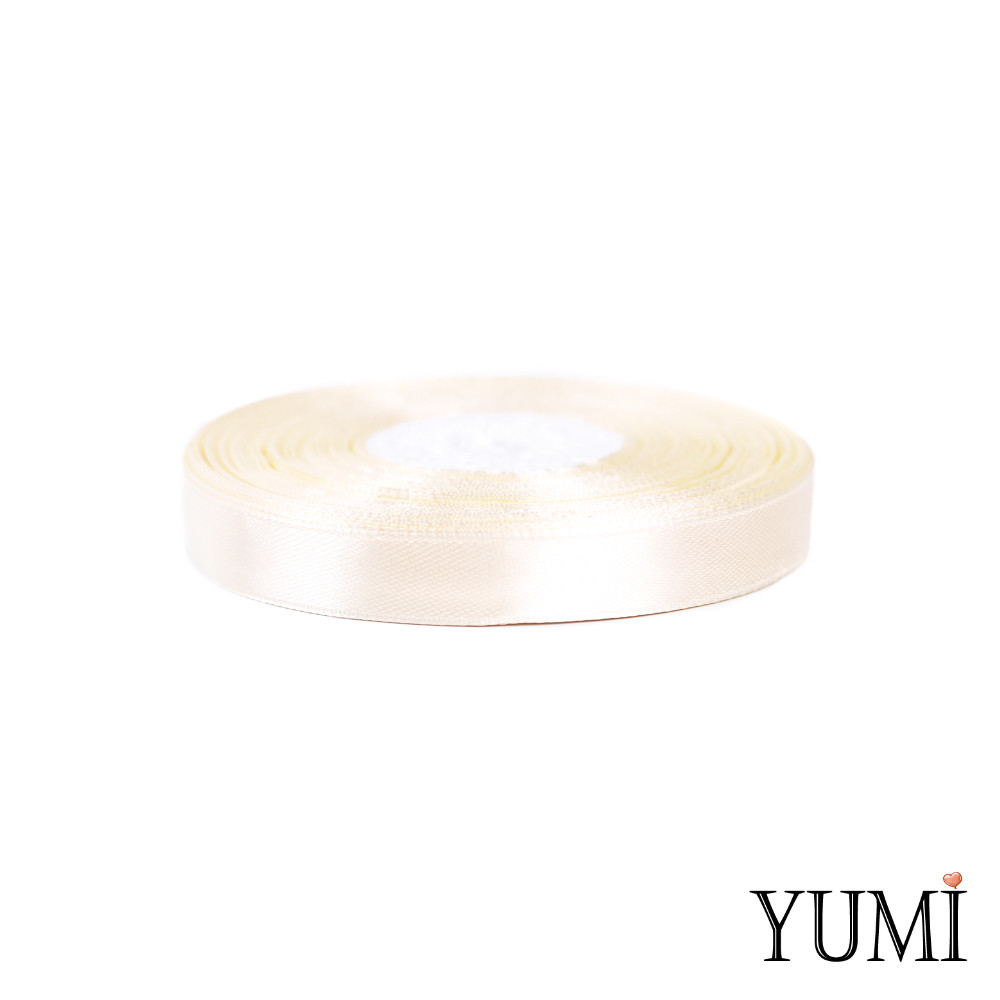 Лента (тесьма) атласная (сатин) 12 мм  АЙВОРИ (МОЛОЧНАЯ) 8003