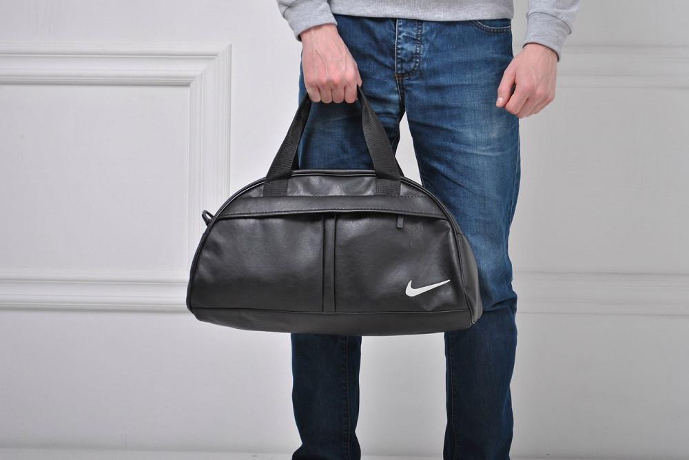 1c106325c8b2 Спортивная сумка NIKE с плечевым ремнём и вышитым белым лого НАЙК, эко-кожа!