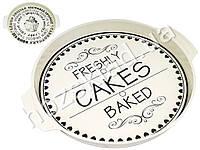 """Поднос раздаточный """"Cakes"""" металлический круглый с ручками 36,7х3х32см (цена за 1шт)"""