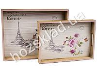 """Поднос с ручками """"Memories"""" МДФ 30х40х5см, 24х34х4,5см (цена за набор 2шт)"""