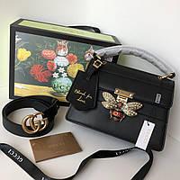 Кожаная сумочка Gucci 'Queen Margaret' черная (реплика), фото 1