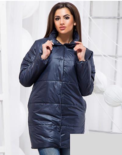 Удлиненная осенне-весенняя куртка черный синий 818401