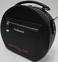 Круглая женская сумка  на плечо черная