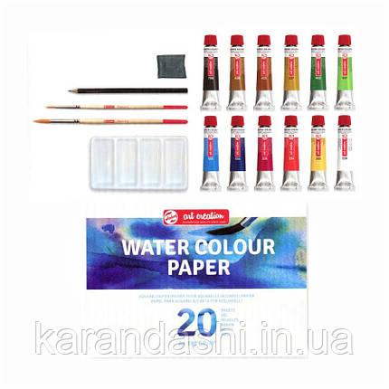 Набор акварельных красок ArtCreation Combiset, 12*12мл, склейка А4, 2кисточки, карандаш, клячка, Royal Talens, фото 2