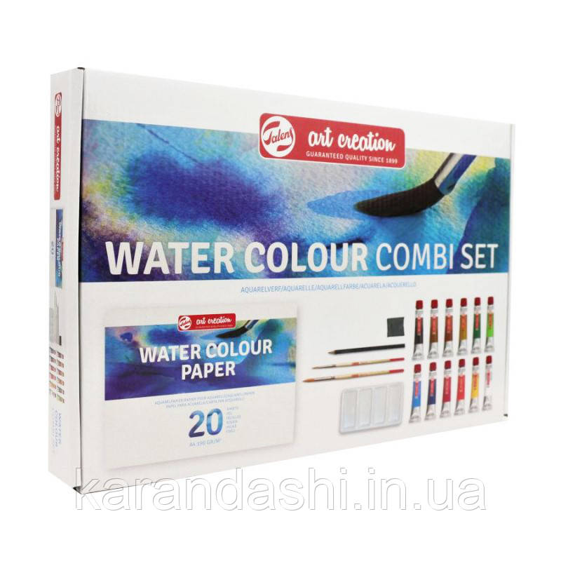 Набор акварельных красок ArtCreation Combiset, 12*12мл, склейка А4, 2кисточки, карандаш, клячка, Royal Talens