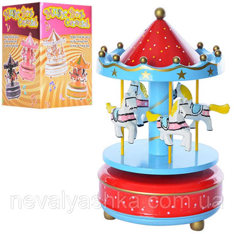 Деревянная игрушка Музыкальная карусель с лошадками, MD 0982, 003078