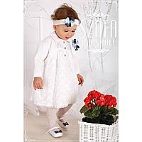 Комплект платье шапочка болеро белый гипюр WB008 Krasnal
