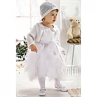 Комплект платье шапочка болеро белый WB003 Krasnal