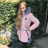 Детская куртка-пальто зимнее «Синти» для девочки наполнитель силикон, отстежной капюшон и мех.