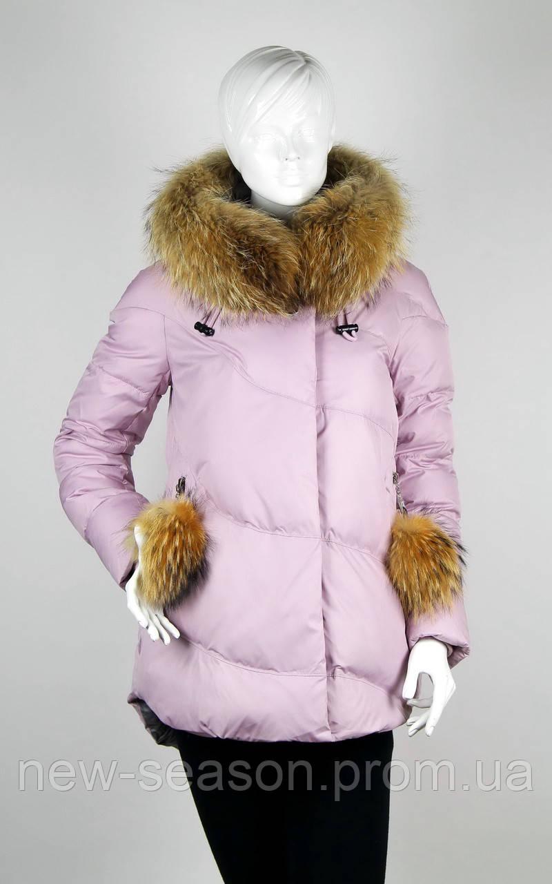 Пуховик CHANEVIA 91730 розовый с мехом енота