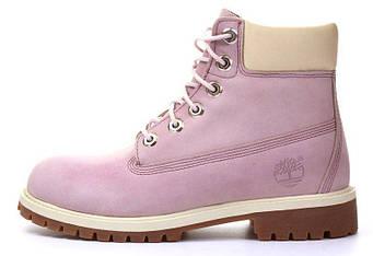 """Женские зимние ботинки Timberlad """"Pink"""" (люкс копия)"""