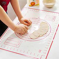 Силиконовый коврик для раскатки теста и приготовления кондитерских изделий, размер 40*60, красного цвета