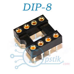 Цанговая панелька для установки микросхем DIP8, узкая