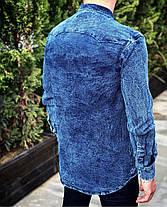 Рубашка мужская джинсовая с закругленным низом, фото 2