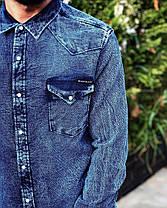 Рубашка мужская джинсовая с закругленным низом, фото 3