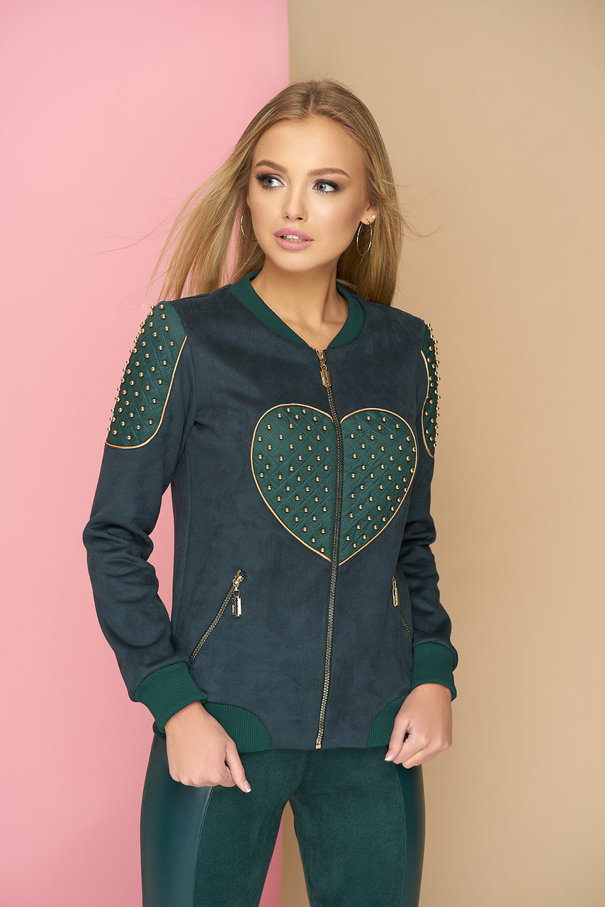 Бомбер с сердцем эко-замшевый зеленый
