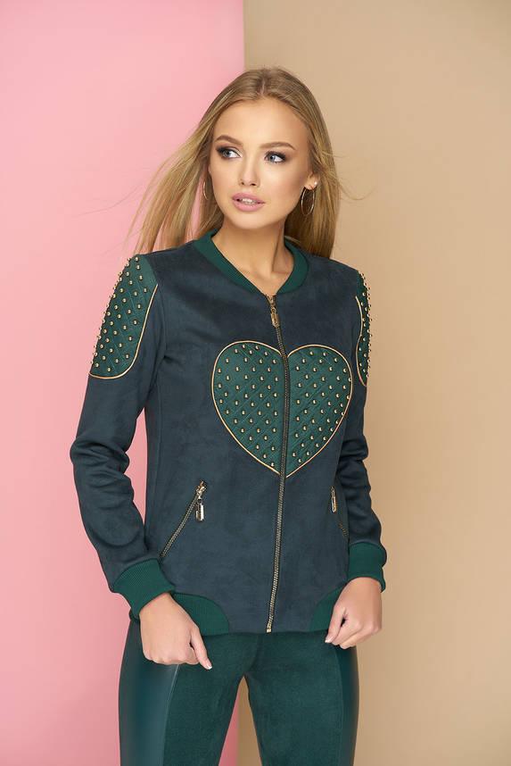 Бомбер с сердцем эко-замшевый зеленый, фото 2