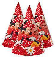 Колпачки праздничные детские для дня рождения Минни Маус 10 шт