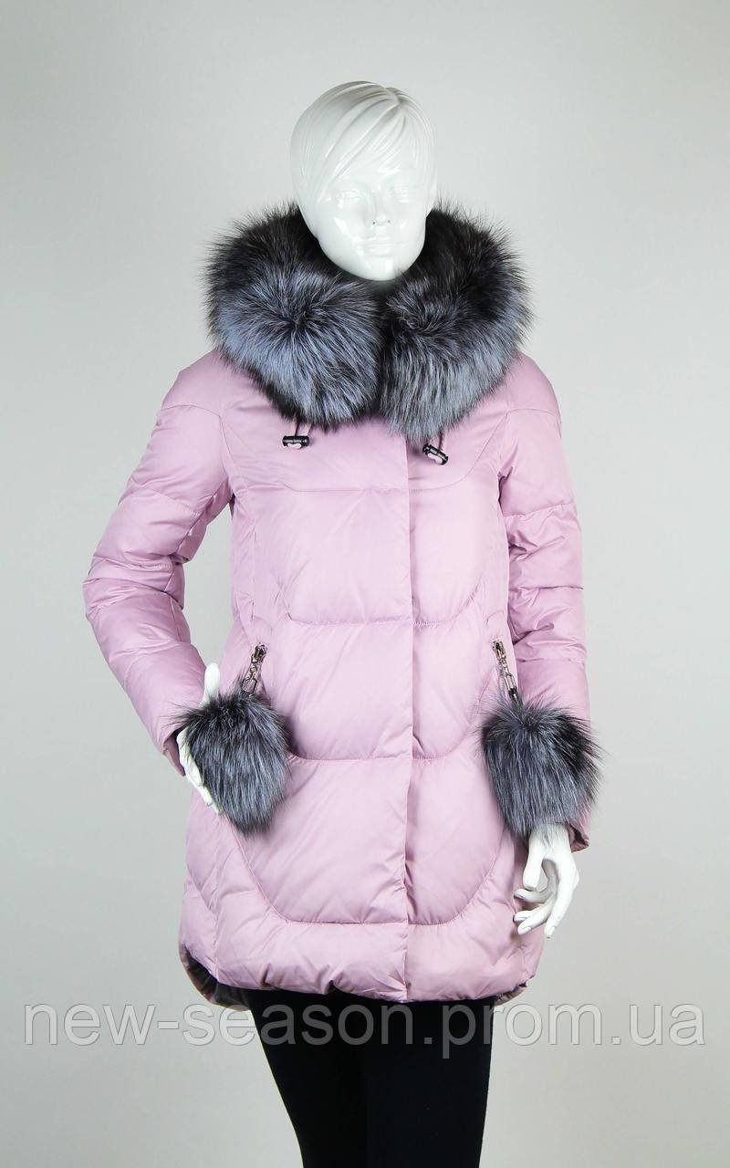 Пуховик CHANEVIA 91728 розовый с мехом чернобурки