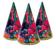 Паперові ковпачки святкові дитячі Тролі 10 шт.