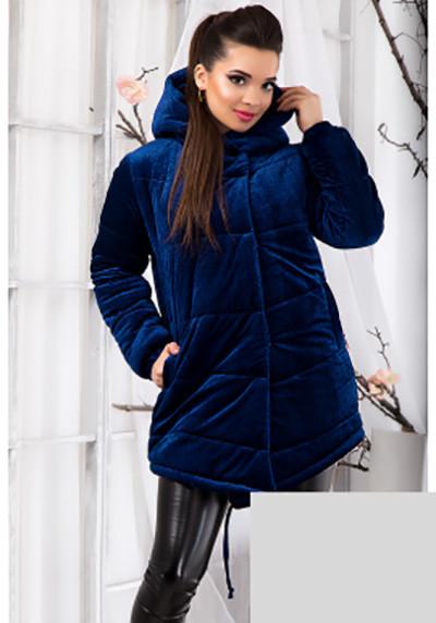 Теплая велюровая курточка с капюшоном 12363